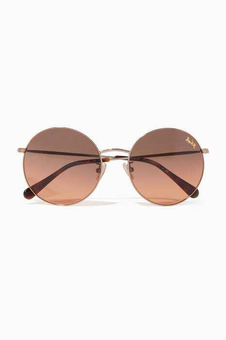 Shiny Gold Thin Metal Round-Frame Sunglasses