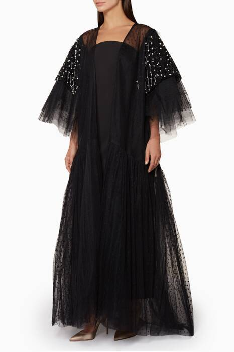 Black Dotted Tulle Pearl Embellished Abaya