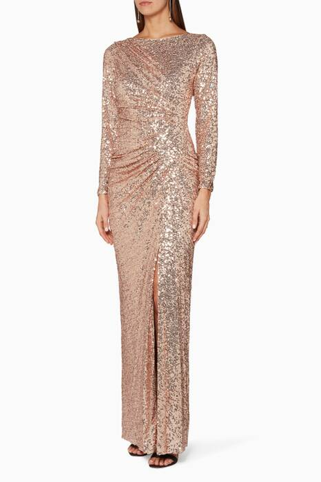 Pink Sequin Embellished Gown