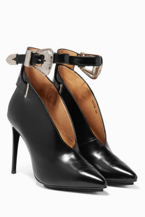 Black Western-Buckle Pumps