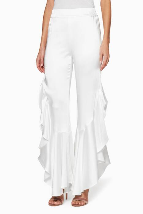 White Ruffle Pants