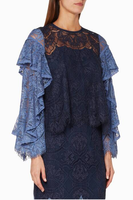 Navy Lace Ruffled Top