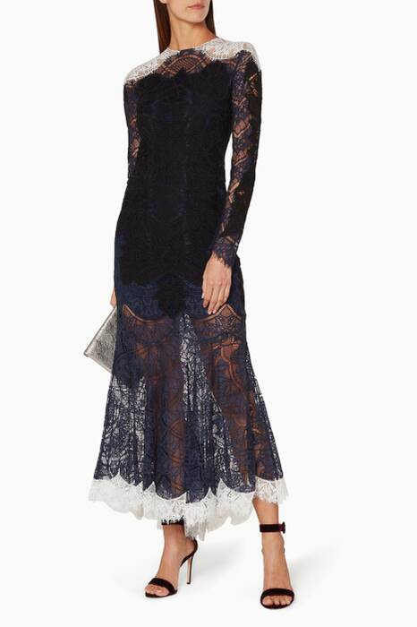 Navy Tricolour Lace Dress