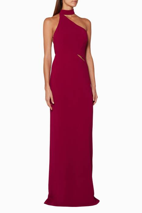 Raspberry Asymmetric Collar Gown