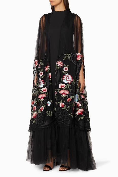 Black Spring Floral Sheer Cape