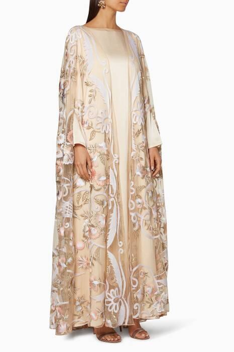 Ivory Embroidered Cape Gown