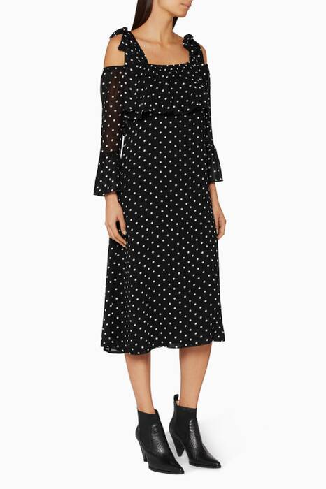 Polka-Dot Monette Off-The-Shoulder Dress