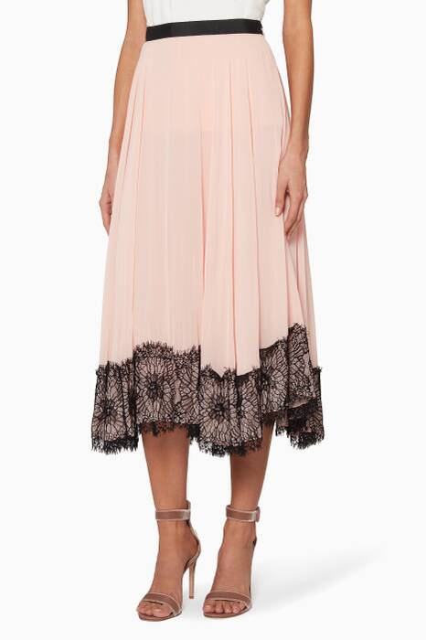 Light-pink Kaya Midi Lace Skirt