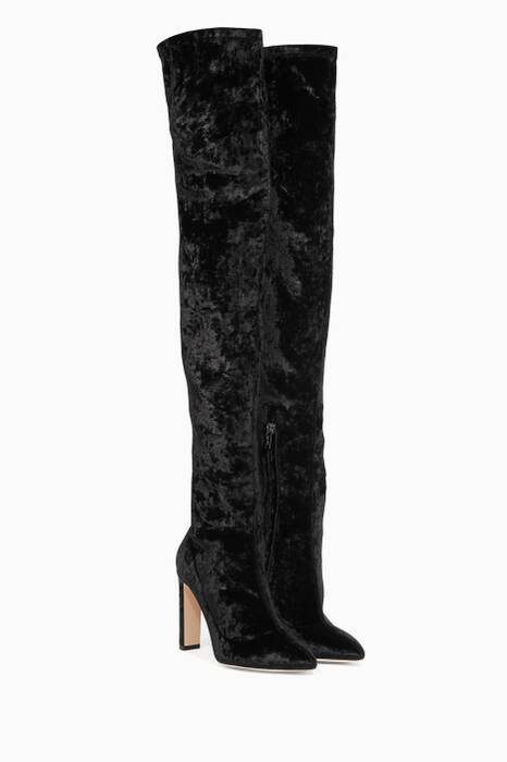 Black Crushed Velvet Lorraine Over-The-Knee Boots