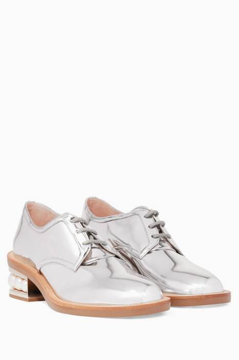 Metallic Silver Casati Pearl Derby Oxfords
