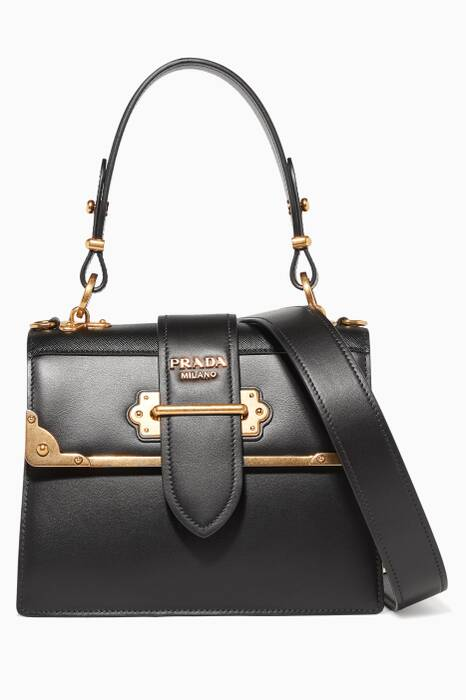 Black Cahier Leather Top Handle Bag