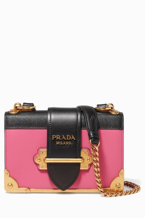 Pink Two-Tone Leather Mini Cahier Crossbody Bag