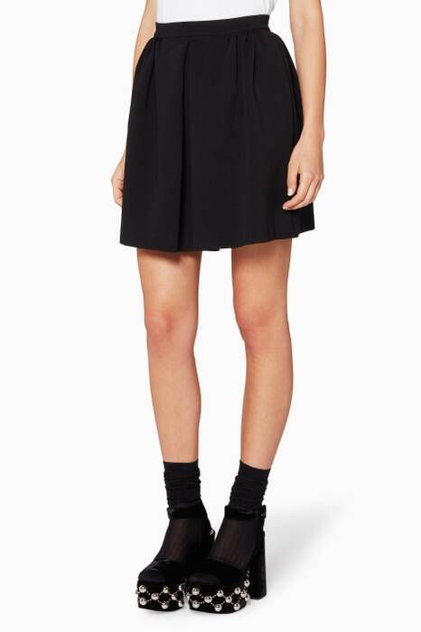 Black Jersey Ribbed Skirt
