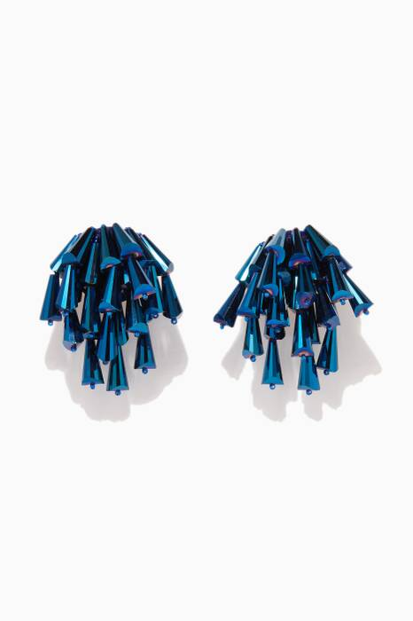 Dark-Blue Cluster Beaded Earrings