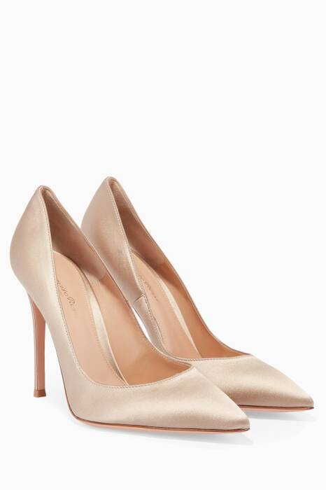 Light-Beige Gianvito Satin Pumps