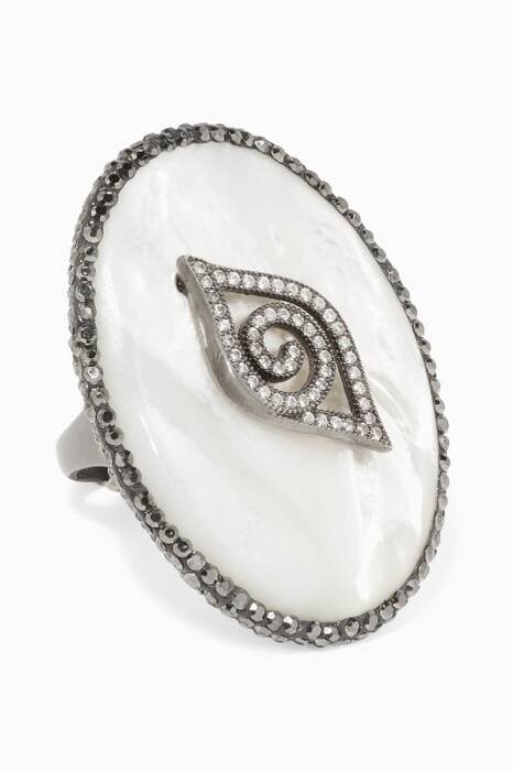 Silver, Cubic Zirconia & Mother-of-Pearl Eye Ring