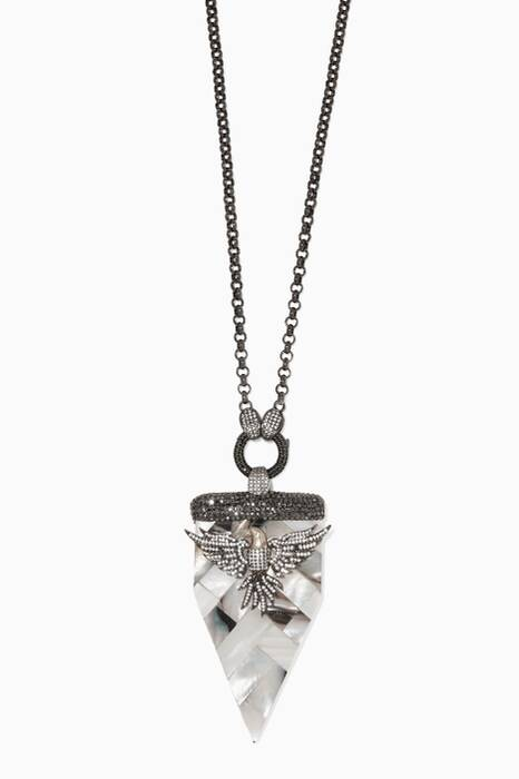 Silver, Cubic Zirconia & Mother-of-Pearl Eagle Necklace