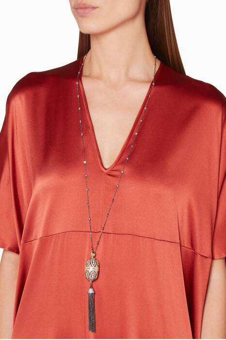 Silver, Gold & Cubic Zirconia Tassel Necklace