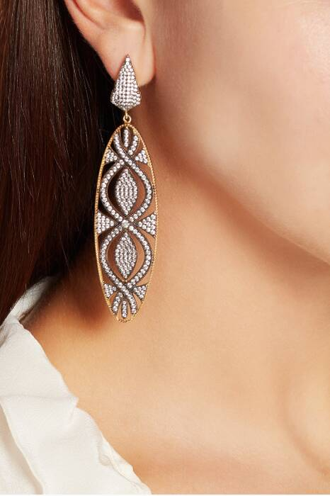 Silver, Gold & Cubic Zirconia Oval Earrings