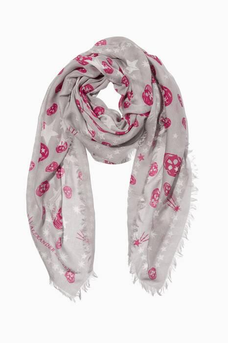 Light-Grey Star-Skull Printed Scarf