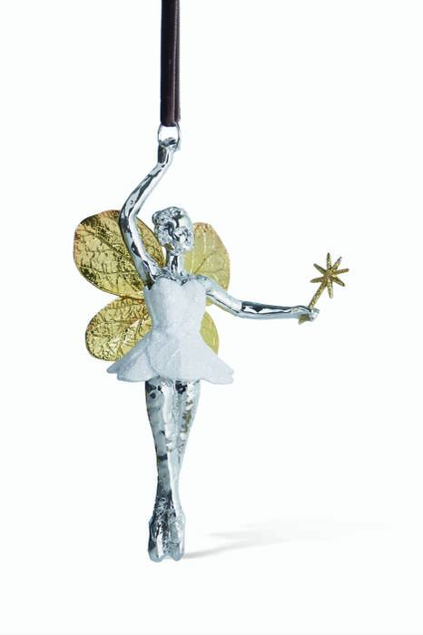 Silver Botanical Leaf Fairy Ornament