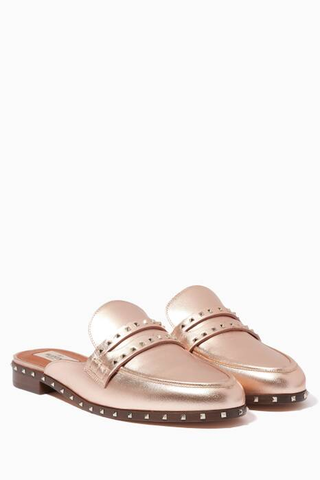 Rose-Gold Mini Rockstud Metallic Loafers