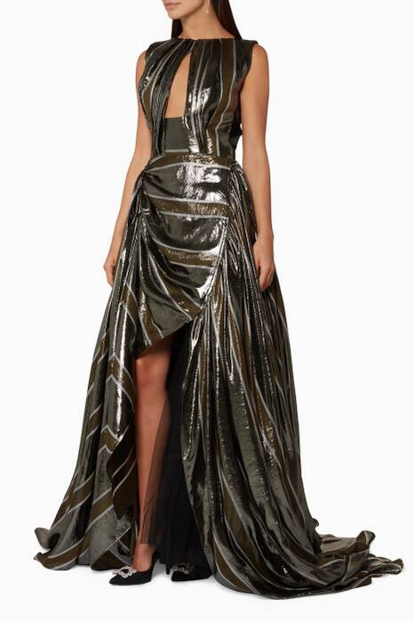 Metallic-Silver Corrosion Gown
