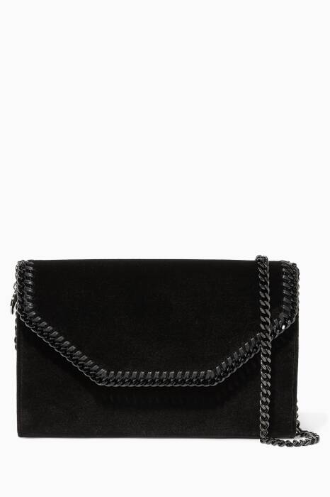 Black Velvet Falabella Box Clutch Bag
