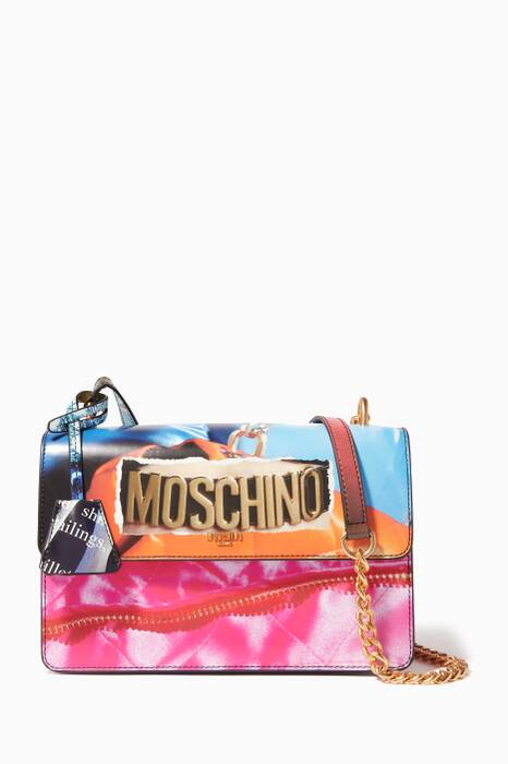 Multi-Coloured Editorial-Print Coated Canvas Shoulder Bag