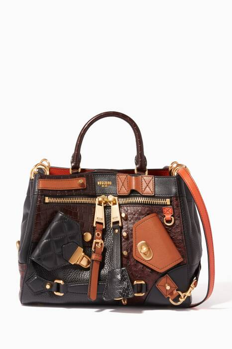 Multi-Coloured Leather Collage Shoulder Bag