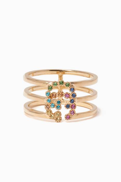 Yellow-Gold & Stone Running G Ring
