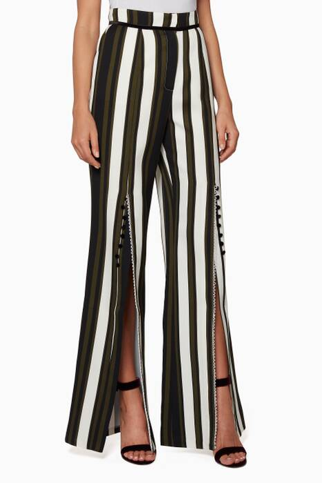 Multi-Colour Striped Front-Slit Pants