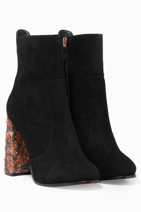 Black Kendra Crystal Embellished Booties