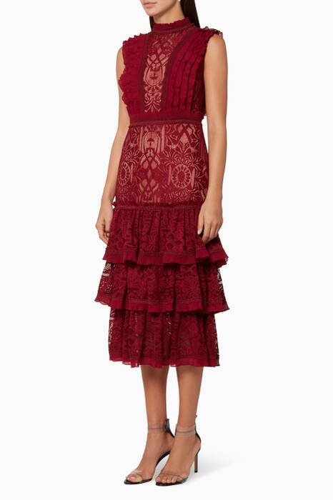 Scarlet-Red Tower Tiered-Skirt Lace Dress