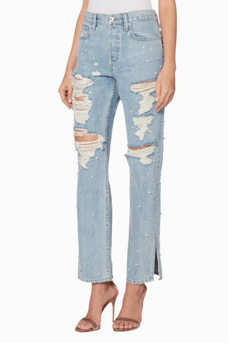 Blue Denim Pearl-Studded Boyfriend Jeans