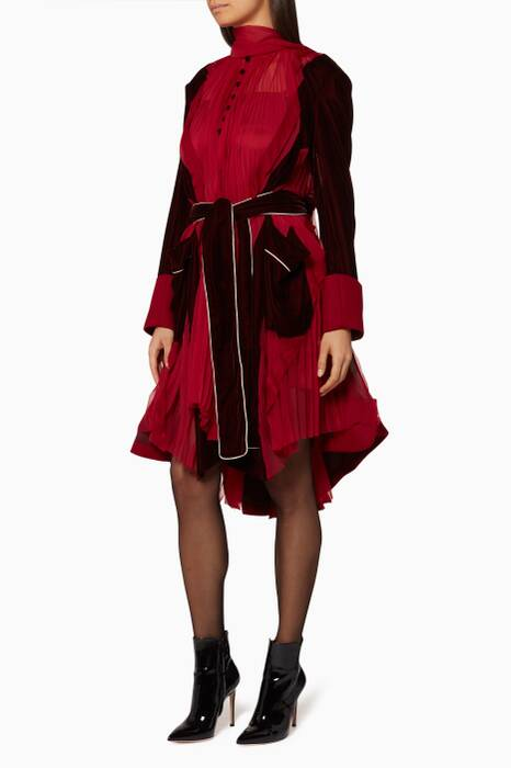Red Pleated Satin Dress