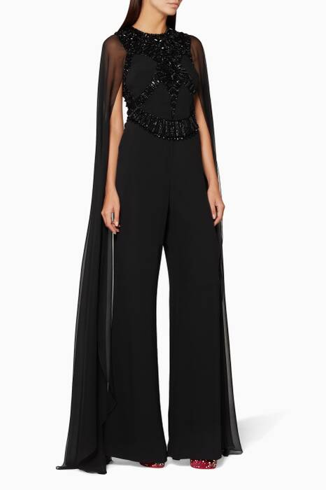 Black Embellished Wide-Leg Jumpsuit