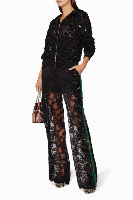 Black Embroidered Two-Piece Lace Set