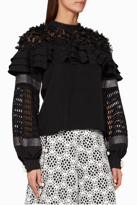 Black Ruffled Blouse