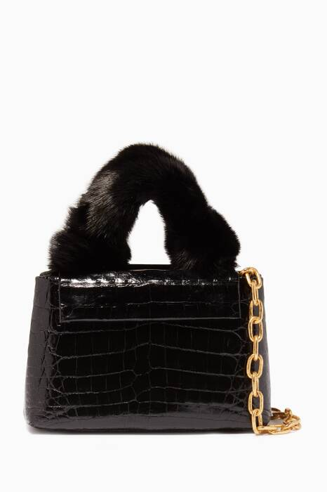 Black Mink Top Handle Bag