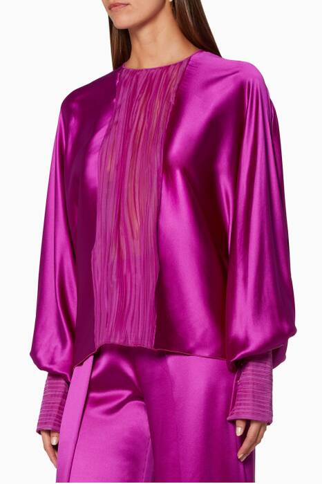 Bright Pink Silk Blouse