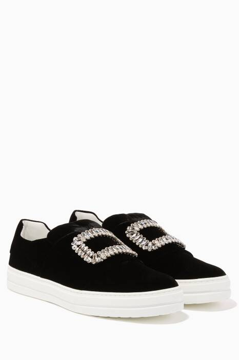 Black Sneaky Viv Slip-On Velvet Sneakers