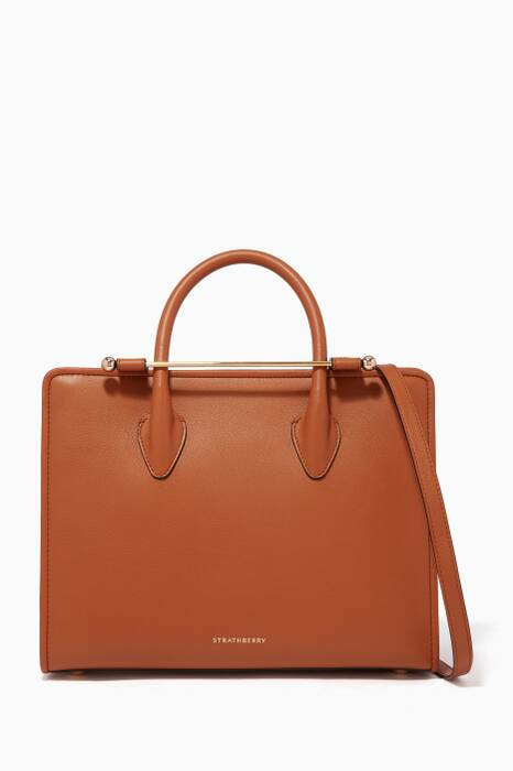 Tan Midi Leather Tote Bag