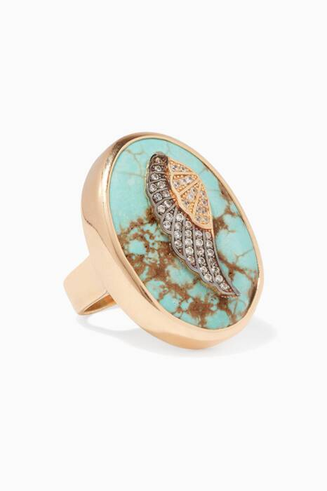 Turquoise Wing Zirconia Ring