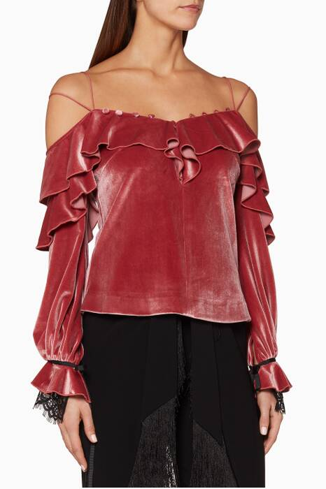 Pink Velvet Off-The-Shoulder Frill Top