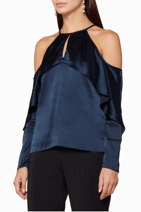 Navy Florence Cold Shoulder Top