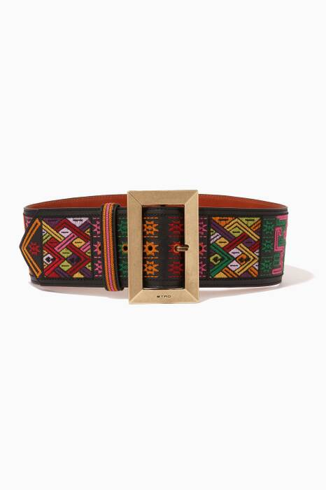 Multi-Coloured Embroidered Leather Belt
