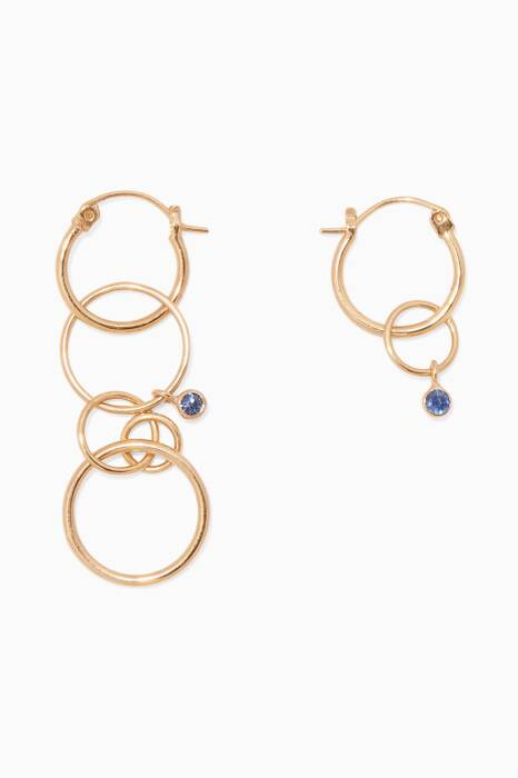 Gold-Plated Silver Hoop Loop & Stone Earrings
