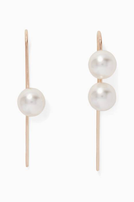 Gold-Plated Silver & Pearl Short Hook Earrings