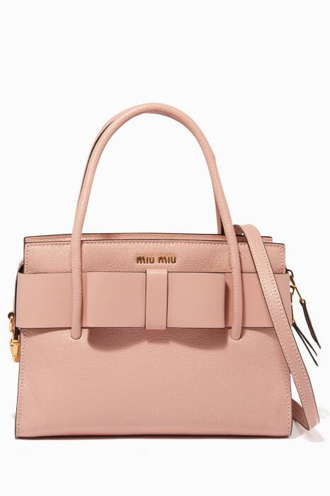 Light-Pink Medium Madras Leather Tote Bag